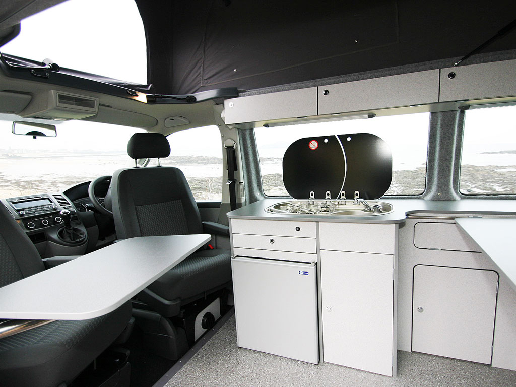 Jerba Campervans Cromarty seats swivelled with sink and hob
