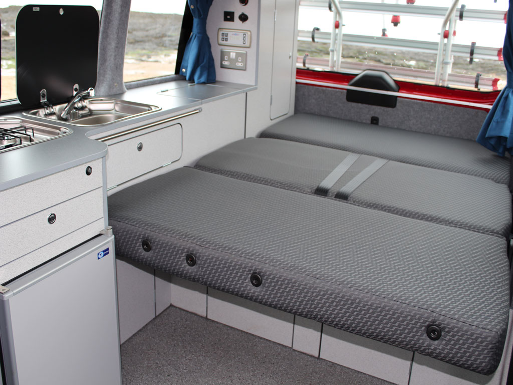 Double bed from kitchen