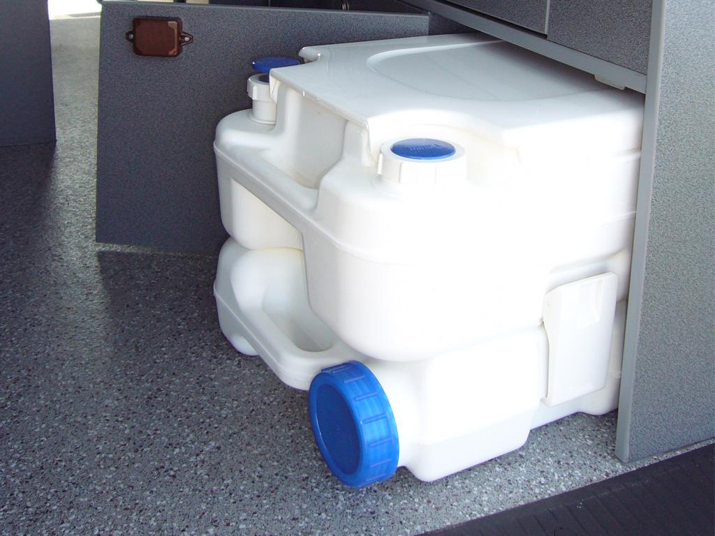 Porta potti in its cupboard in a Taransay