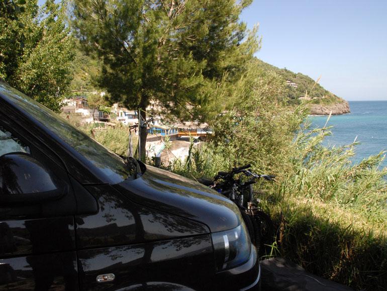 Jerba van looking out over Europe's coastline
