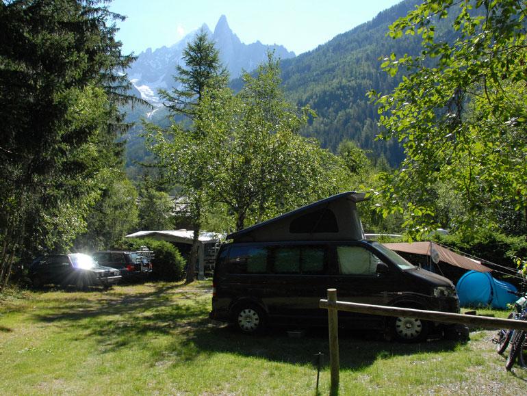 Jerba campervan at a campsite in the Alps