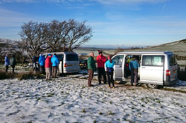 Two vans out on the fells in the frost