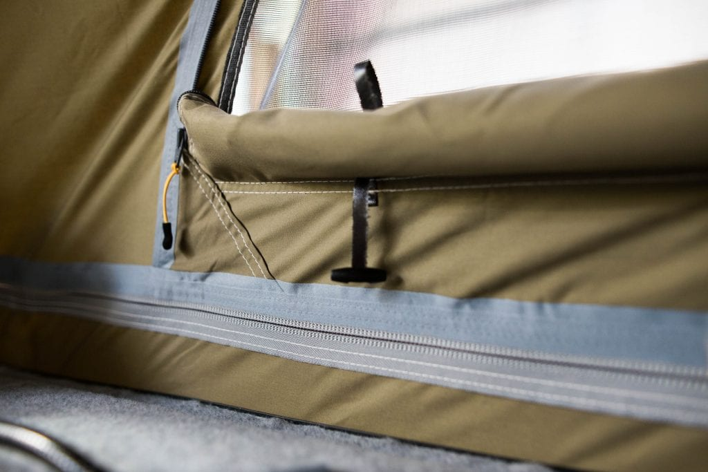 Campervan Pop Top Roof features- fabric and a zippper