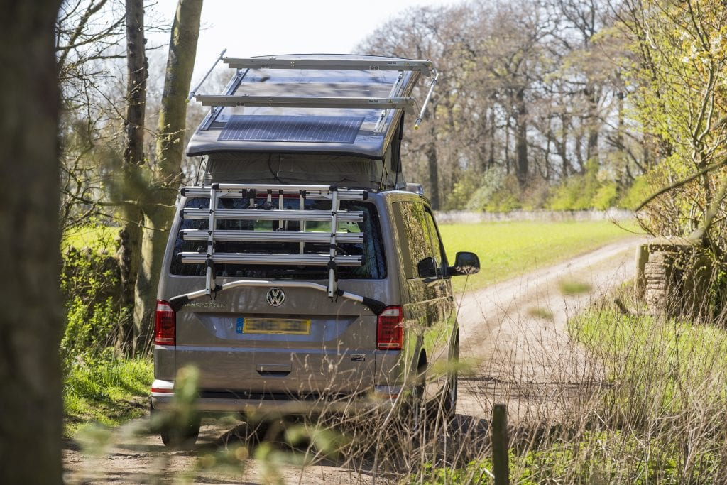 Campervan Exterior - Pop Top Roof with a solar panel