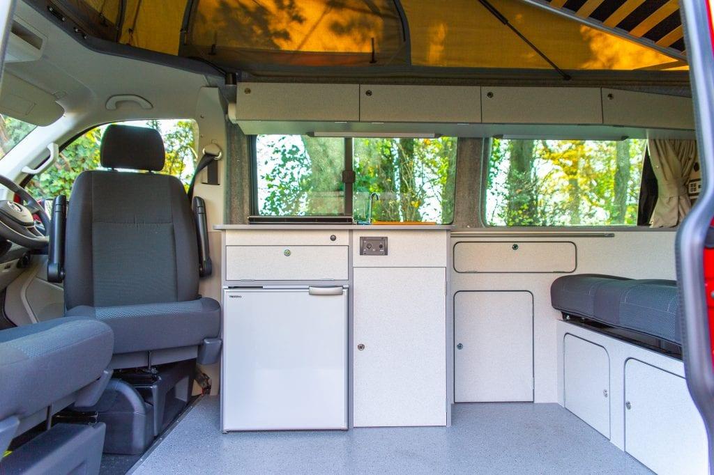 Campervan Interior - Big windows and terrano cupboards