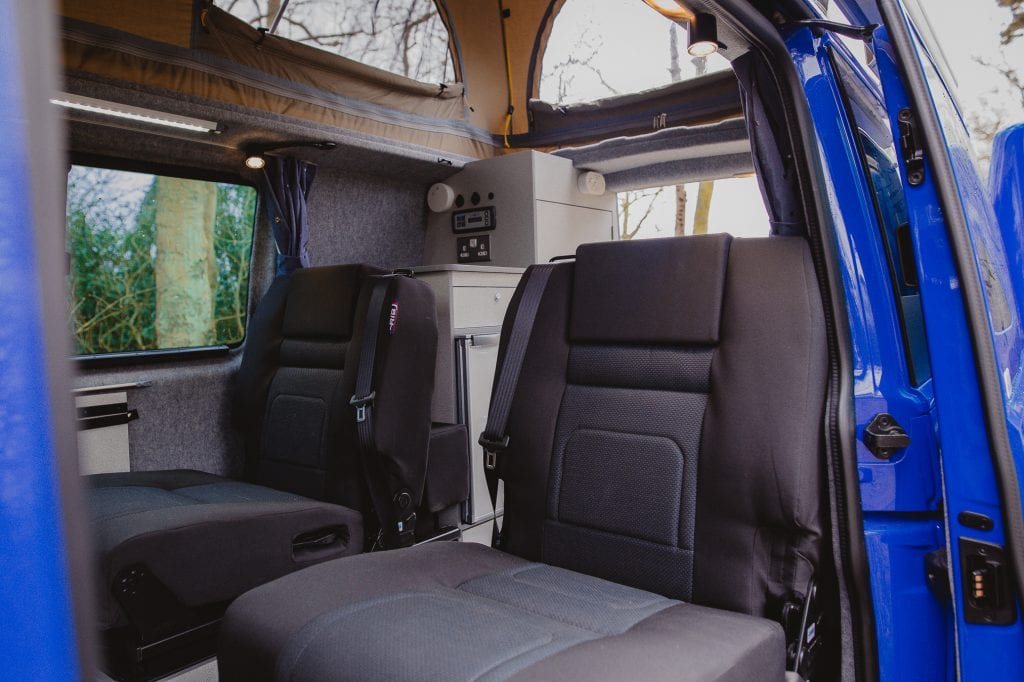 Campervan Interior - Black seats in the back